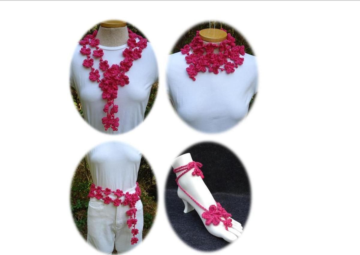Lariat and Barefoot Sandals - PR-110 - A crochet pattern from Nancy Brown-Designer. For the Intermediate Crocheter. Make a fabulous lariat and barefoot sandals in your favorite DK weight cotton and use wooden crow beads for added interest and embellishment. This pattern PDF can be purchased at my Craftsy Pattern Store for $3.99, just click on the photo.