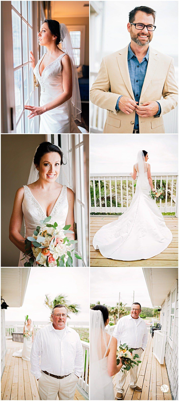 Jacksonville beach weddings  Bride in her wedding dress and groom getting ready at their Amelia