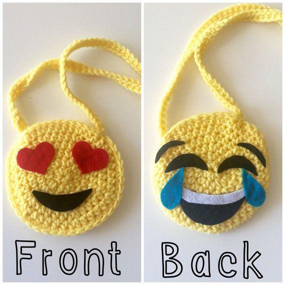 Artículos similares a Emoji crochet monedero, monedero de niño pequeño, niños monedero, amarillo, bolsa de ojos corazón, crochet en Etsy