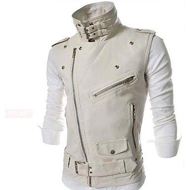 Men's Fashion Leisure Vest Leather Outerwear - USD $ 47.99