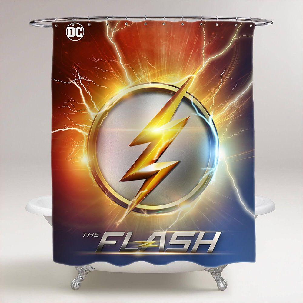 The Flash Logo Bathroom Shower Curtain Price 3699 Tagsforlikes