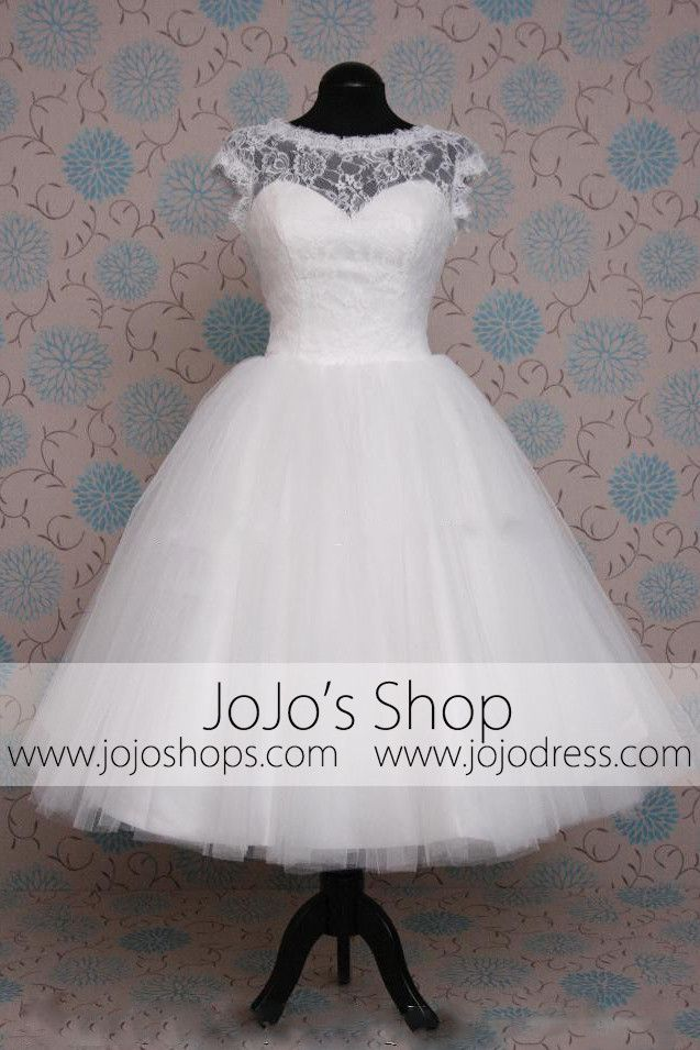 Retro 50s Tea Length Short Sleeve Tulle Lace Wedding Dress | 50s ...