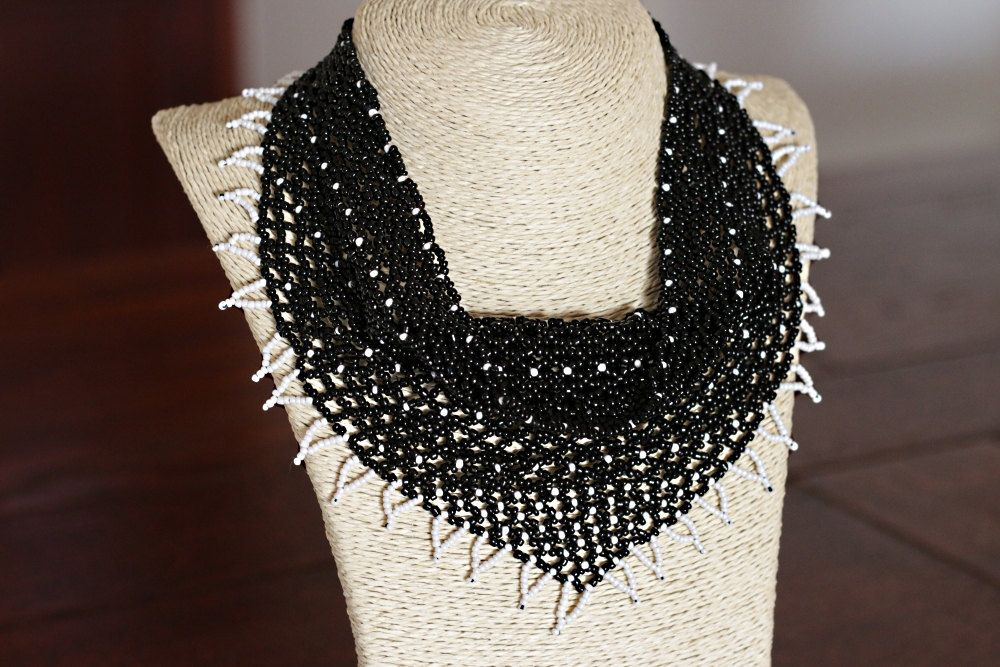 handmade bead kerchief necklace beaded kerchief necklace