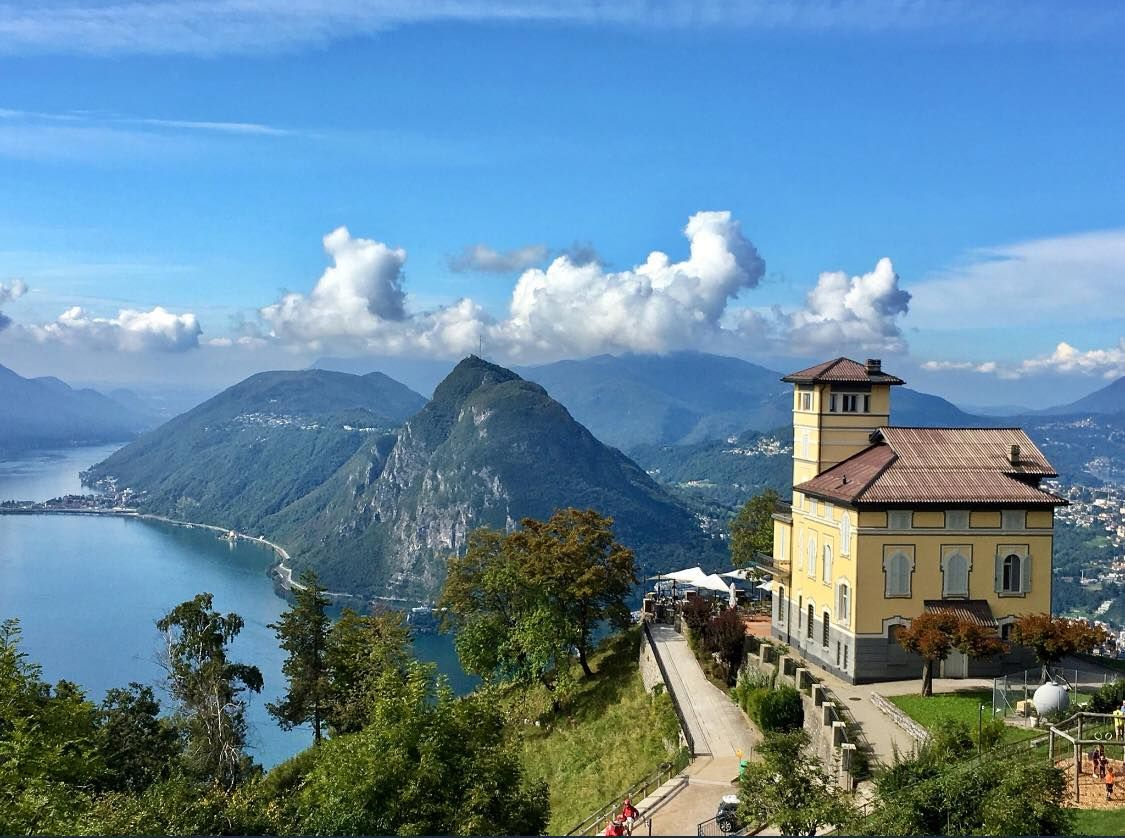 Monte Brè is a small mountain east of Lugano on the flank of Monte Boglia with a view of the bay of Lugano and the Pennine Alps an… | Alps ...