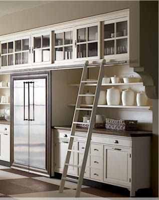 Library Ladder Upper Cabinets With Open Shelving Underneath