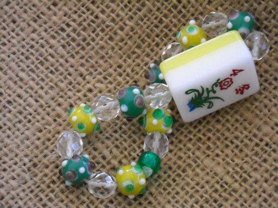 Yellow and green Mahjong bracelet by Earmarksdesigns on Etsy, $18.00