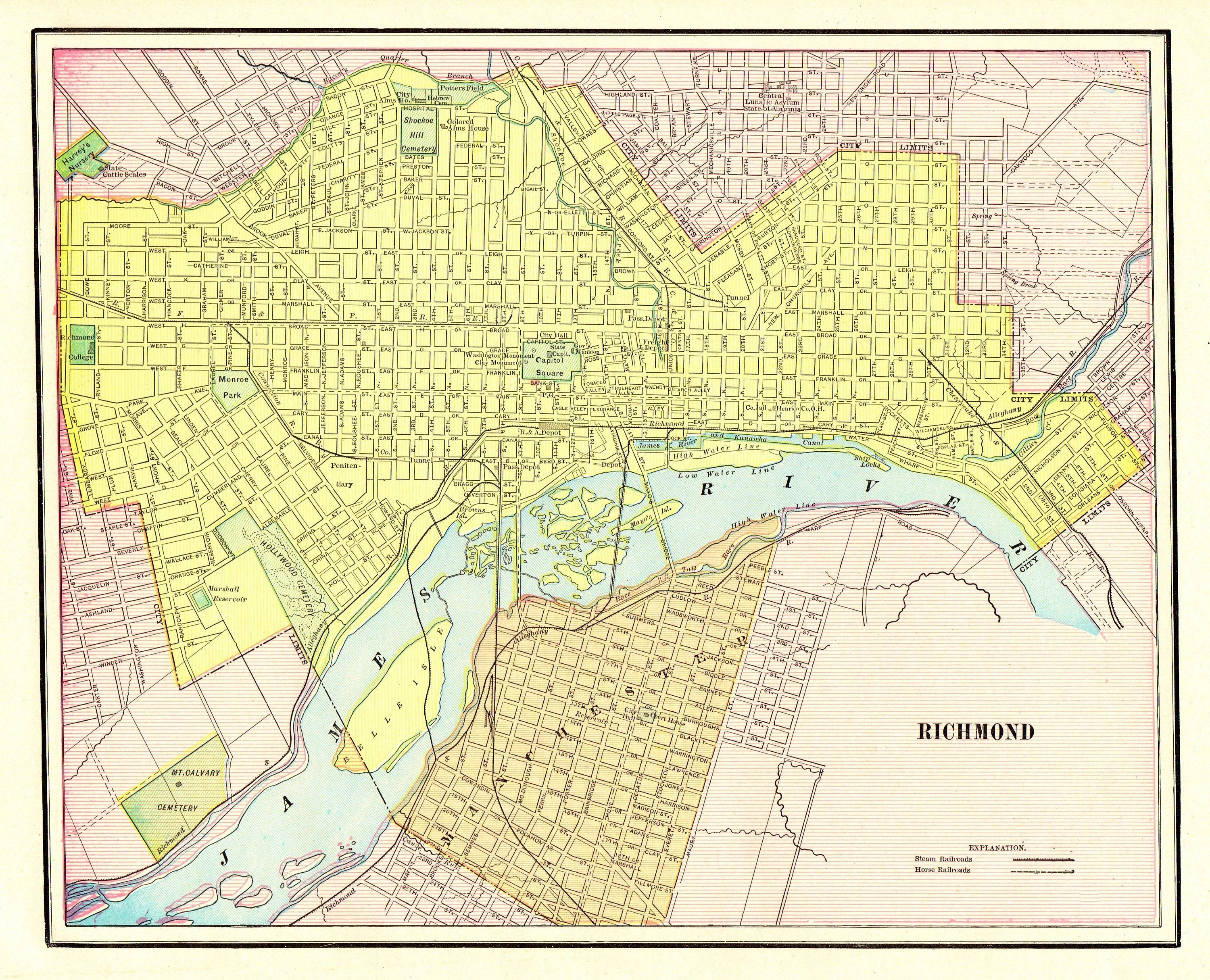 1901 Antique Richmond City Map Reproduction Print Of Richmond - Richmond-virginia-on-us-map
