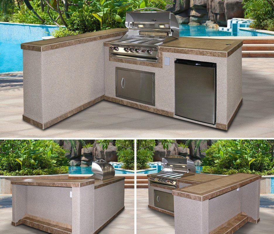 90 3 Piece 4 Burner Bbq Island Outdoor Kitchen Design Bbq Island Cal Flame