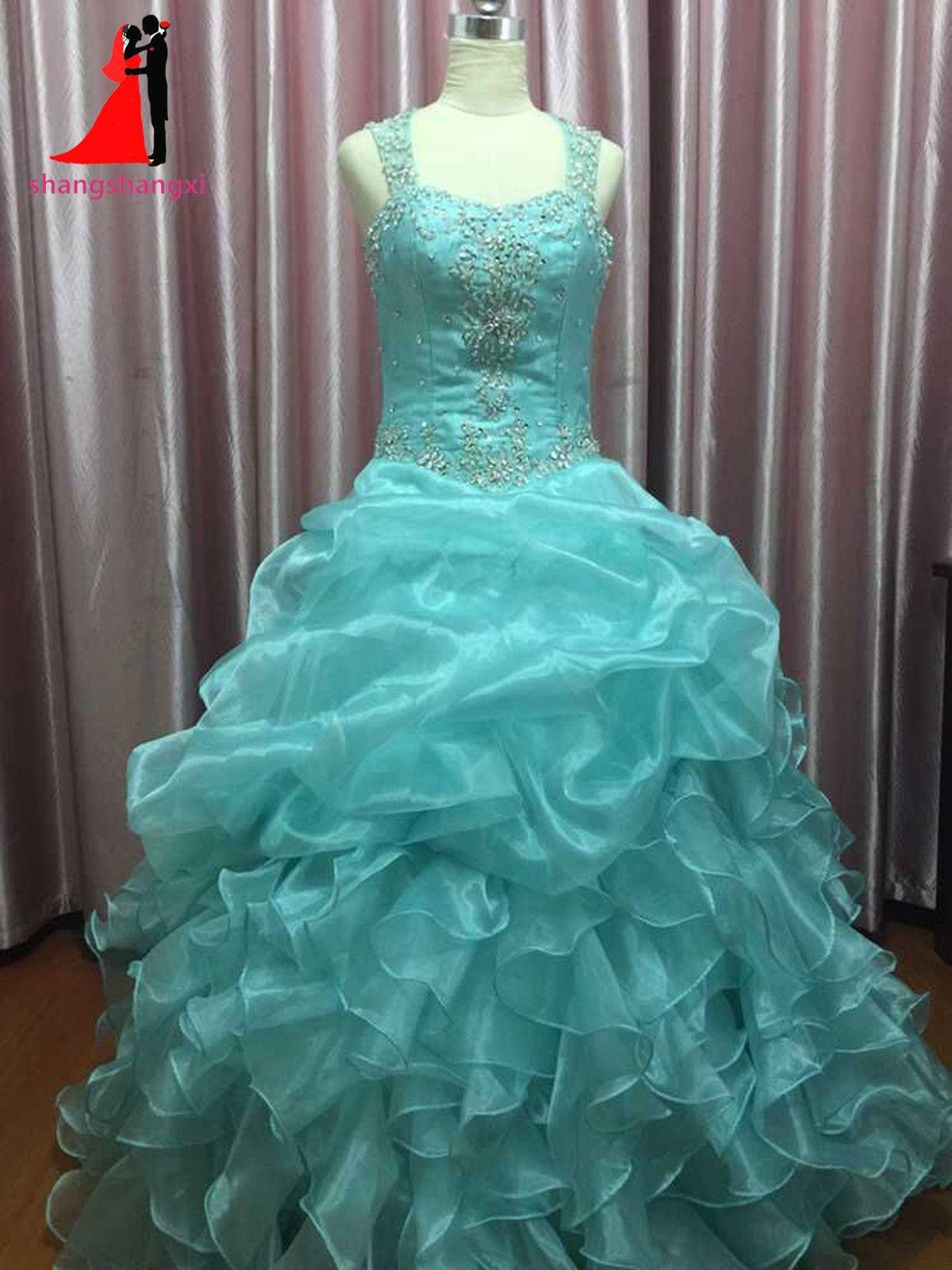 New Cheap Mint Green Quinceanera Dresses Masquerade Ball Gowns Ruffles  Sweet 16 Dress Long Prom Dresses a0590732558e