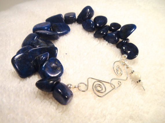 Tumbled Lapis Lazuli with handmade clasp by TheCrystalApothecary, $45.00