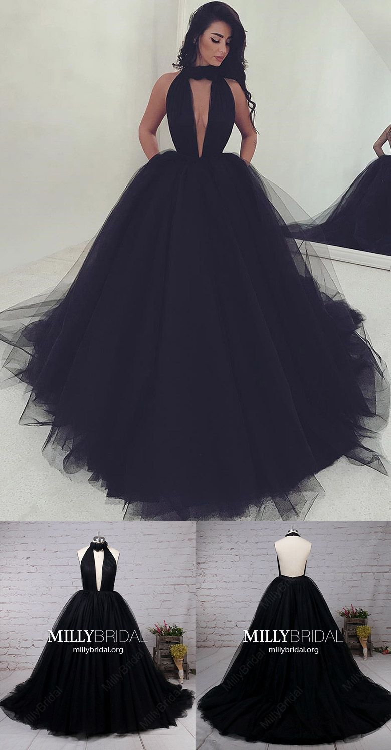 Black Prom Dresses SimpleBall Gown Prom Dresses UniqueHigh Neck