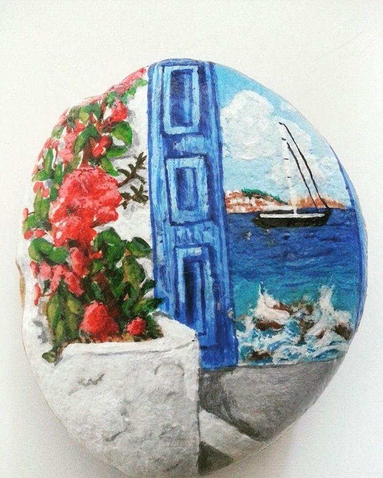 Yaz Manzara Gemi Mavi Deniz Sanat Sanatsokagi Tas Boyama