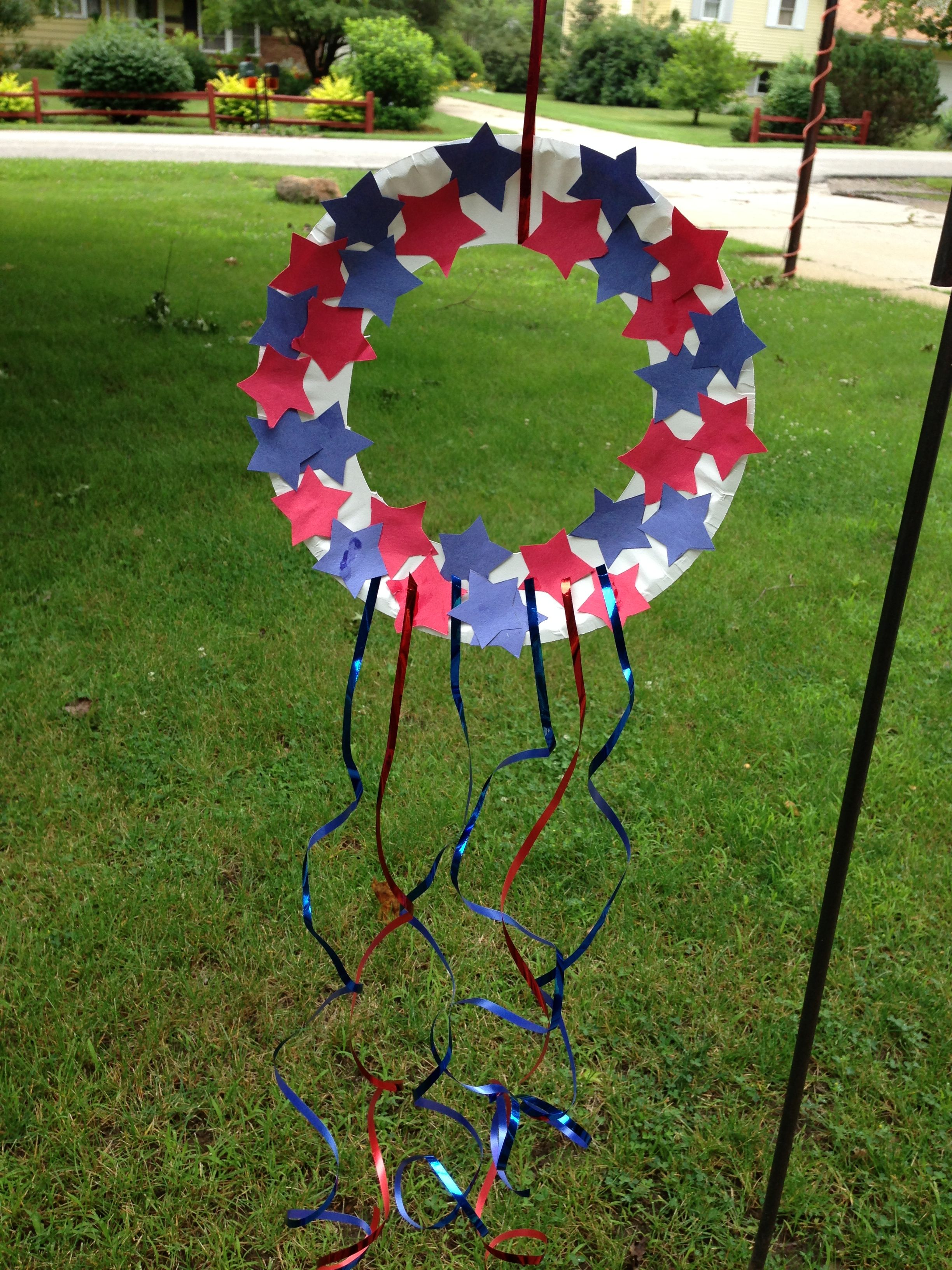Kids Craft Patriotic Wreath Memorialday 4thofjuly