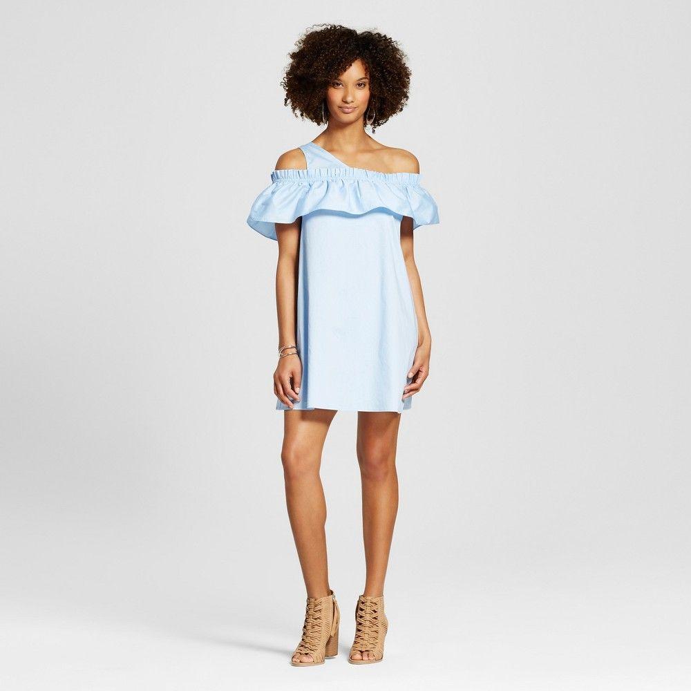 Women's Asymmetrical Ruffle Dress Blue S - Blu Pepper (Juniors')