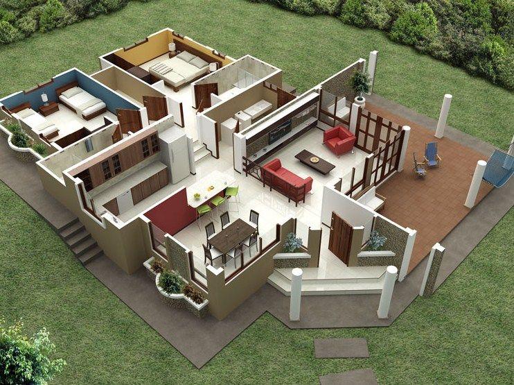 Plano de casa moderna de 155 m2 planos pinterest for Modelos de casas de una sola planta