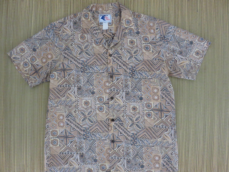 367e4509 Vintage Hawaiian Shirt NUI NALU 70s Aloha Surfer Shirt Enchanted Tiki Hut  Tribal Pattern Reverse Print Mens - L - Oahu Lew's Shirt Shack by ...
