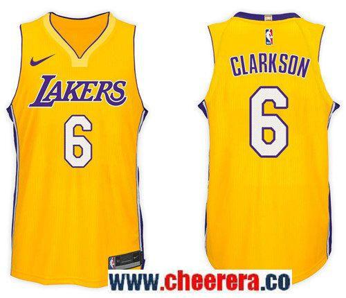 Men s Nike NBA Los Angeles Lakers  6 Jordan Clarkson Jersey 2017-18 New  Season Gold Jersey f46682823