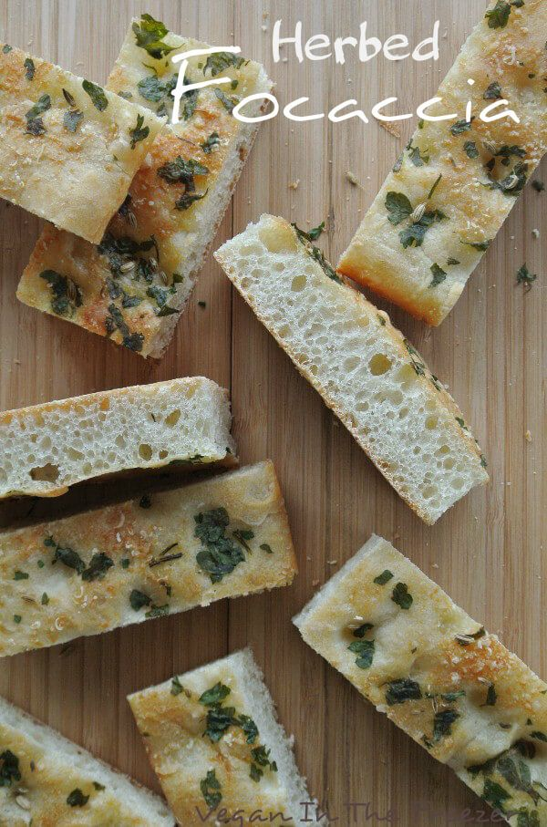 Herbed Focaccia should be a staple in everyone's home.  It has a wonderful chewy texture, is aromatic and satisfying. Great to dunk too. via @VeganFreezer