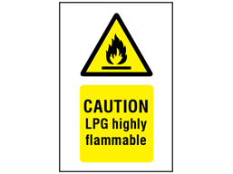 Caution Lpg Highly Flammable Symbol And Text Safety Sign Ws1320 Label Source Signs Text Signs Printable Signs