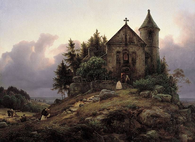 """Karl Friedrich Lessing, """"The Forest Chapel"""" (1839)"""