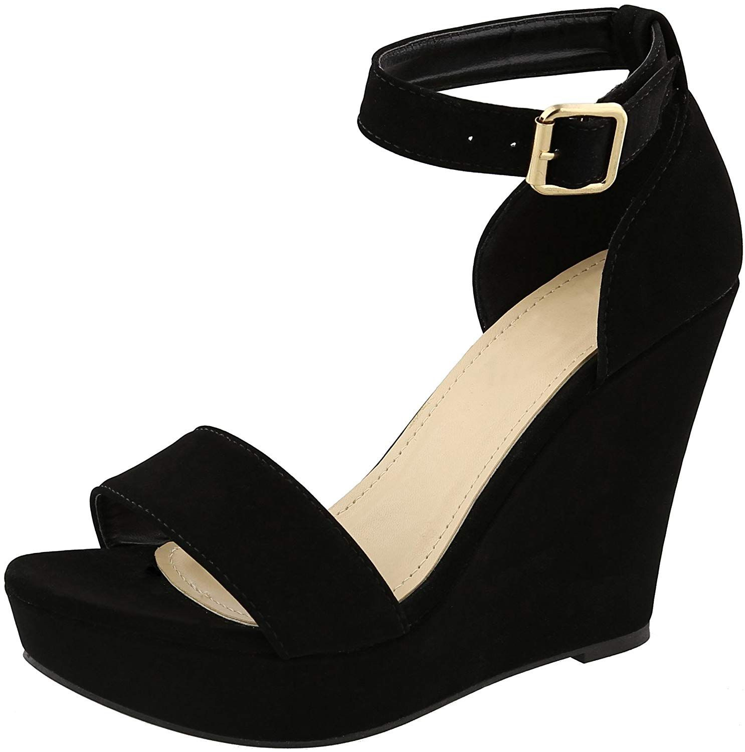a26baba66ec Cambridge Select Women s Open Toe Single Band Buckled Ankle Strap Platform  Wedge Sandal. This wedge sandal from Cambridge Select features an open toe