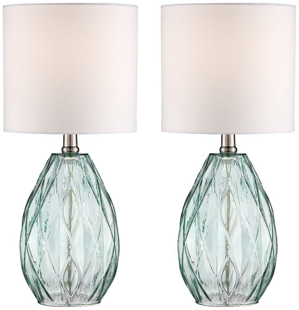 Blue glass table lamps  Rita BlueGreen Glass Table Lamp Set of   Lighting  Pinterest