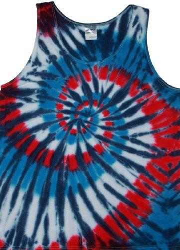 0e80ac6737fc Tie Dyed Shop Red White Blue Spiral Men s Tie Dye Tank Top