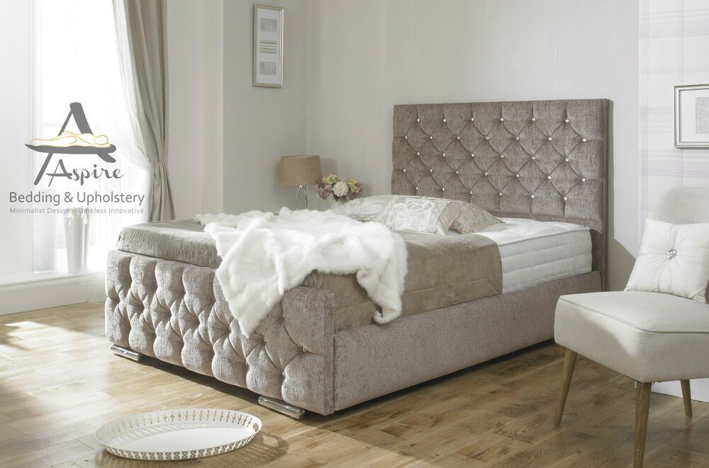 Find Many Great New Used Options And Get The Best Deals For Monoco Diamond Fabric Upholstered B Upholstered Bed Frame Bed Frame With Storage Upholstered Beds