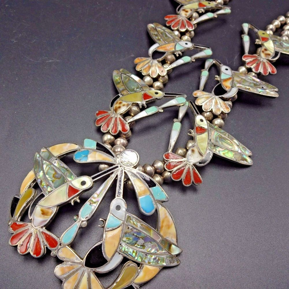 Exquisite Vintage Zuni Sterling Silver Multi Stone Inlay Hummingbird Necklace Native American Jewelry Squash Blossom Jewelry Turquoise Jewelry Native American