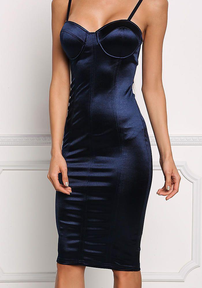 Navy Satin Bustier Bodycon Dress - Dresses  1738580345cf