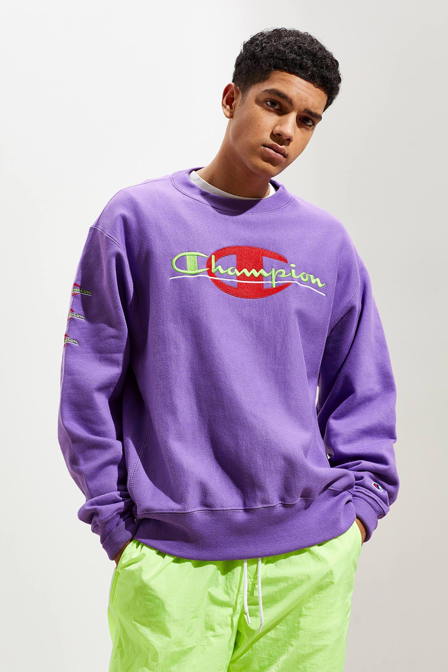 Champion Pop Colors Crew Neck Sweatshirt Crew Neck Sweatshirt Champion Clothing Sweatshirts [ 2175 x 1450 Pixel ]