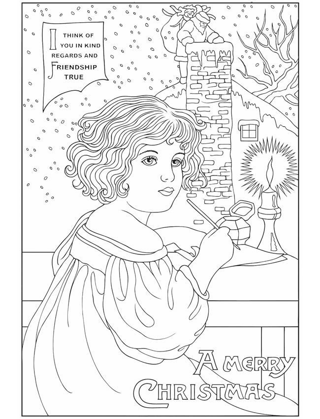 Vintage Christmas Greetings Coloring Book Dover Publications | Color ...
