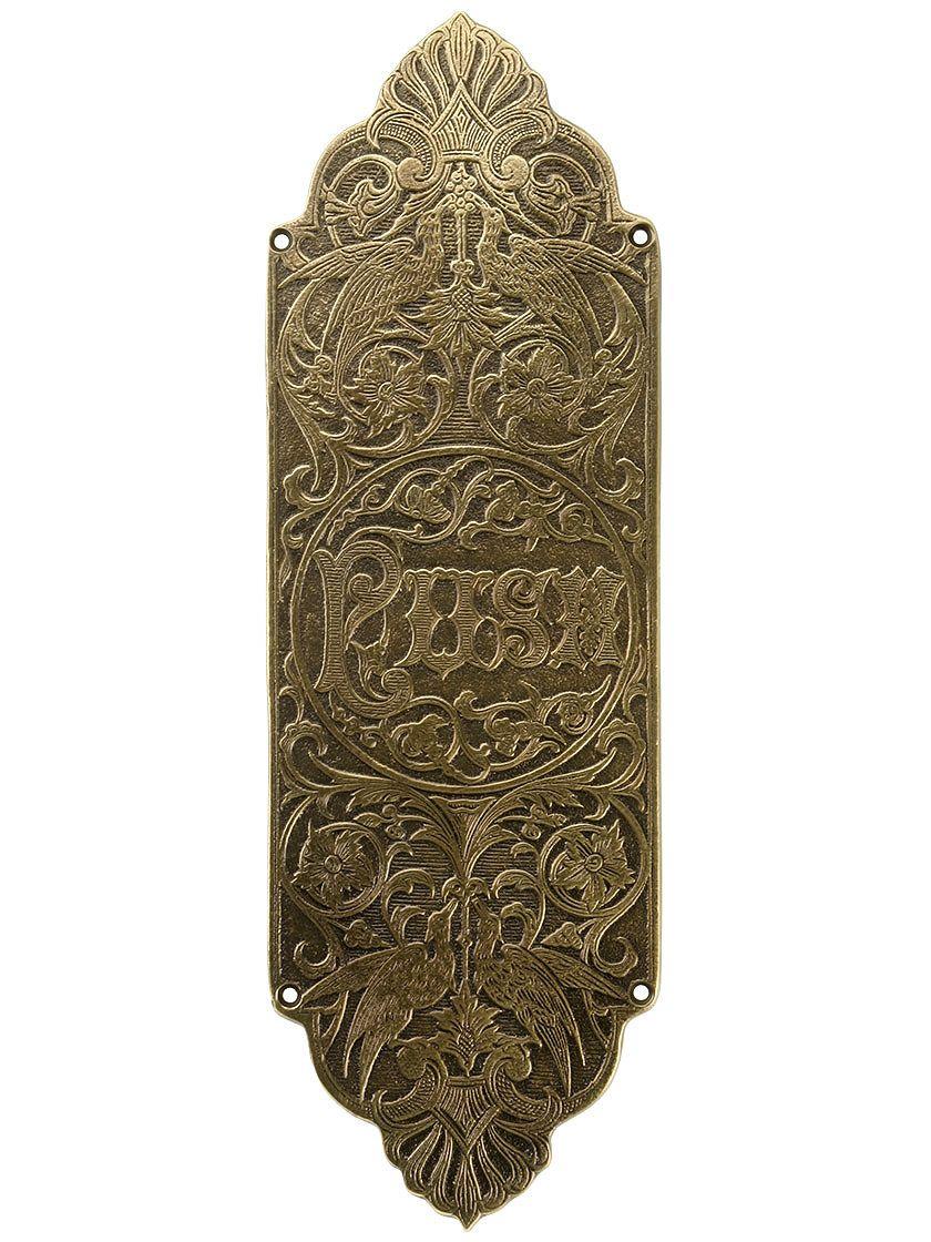 Brass Door Push Plates. Bird of Paradise Push Plate In Antique-By-Hand - Brass Door Push Plates. Bird Of Paradise Push Plate In Antique-By