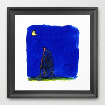 bear looking at the moon Framed Art Print by jenapaul - $36.00