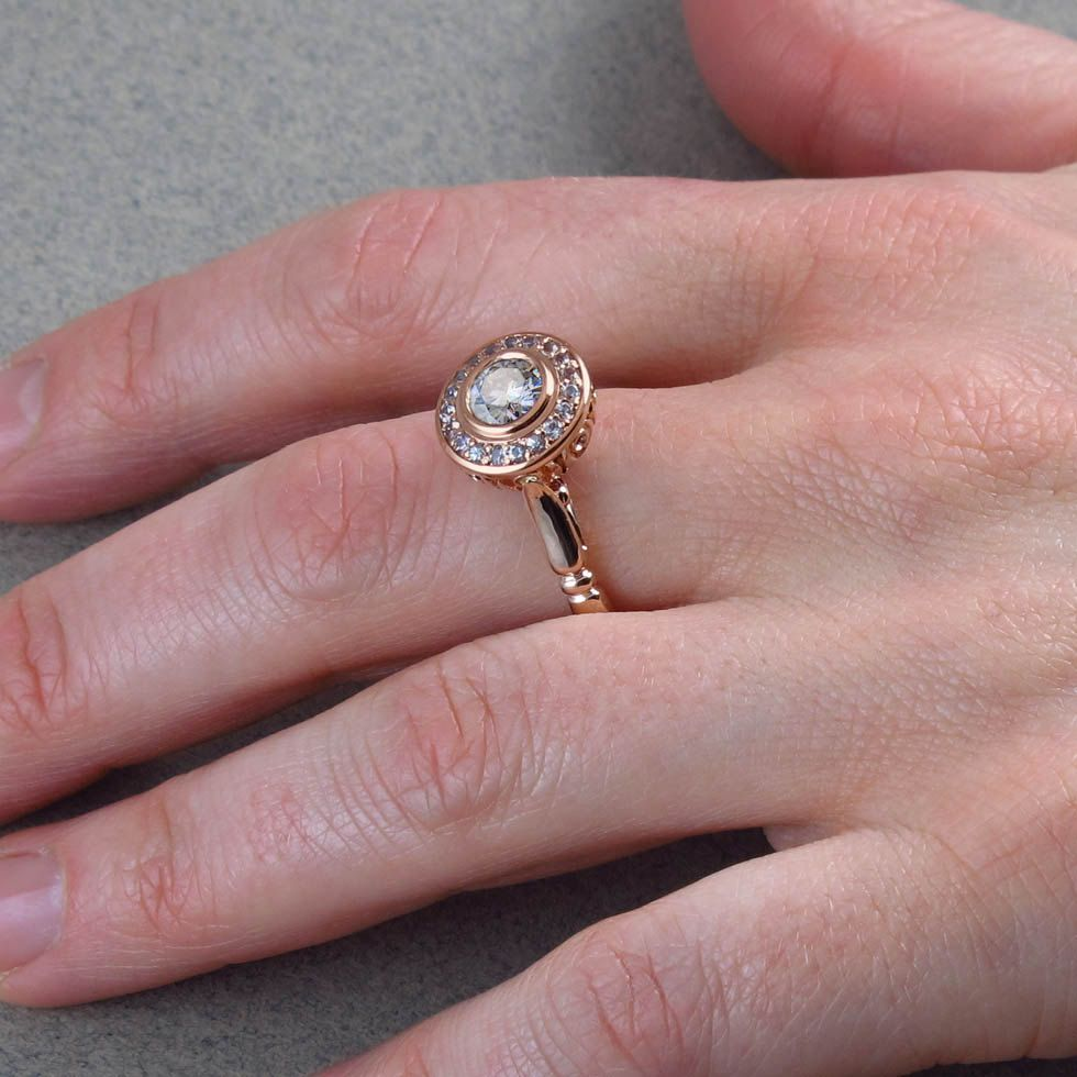 Moissanite THE SECRET DELIGHT 14k rose gold engagement ring ...