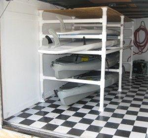 The PVC paddleboard & kayak racks my husband built for the