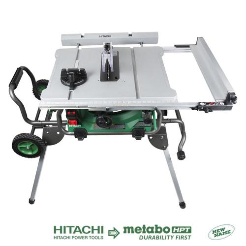 Hitachi 10 In Carbide Tipped Blade 15 Amp Table Saw At Lowe S The New Hitachi 10 In Jobsite Table With Fold And Roll Stan With Images Jobsite Table Saw Table Saw Hitachi