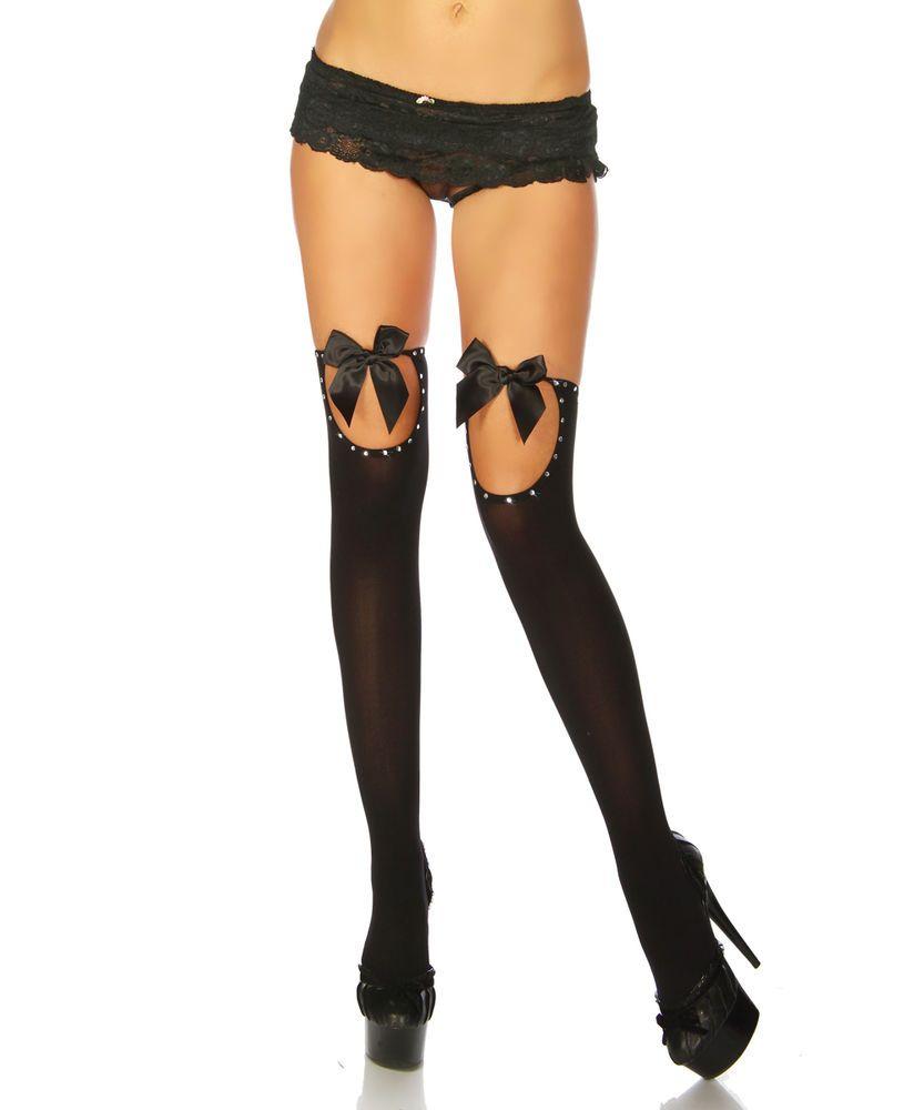 e63dd41e018c43 Sexy Stockings schwarze Satin Schleife NEU Strapse halterlose Strümpfe  Strass