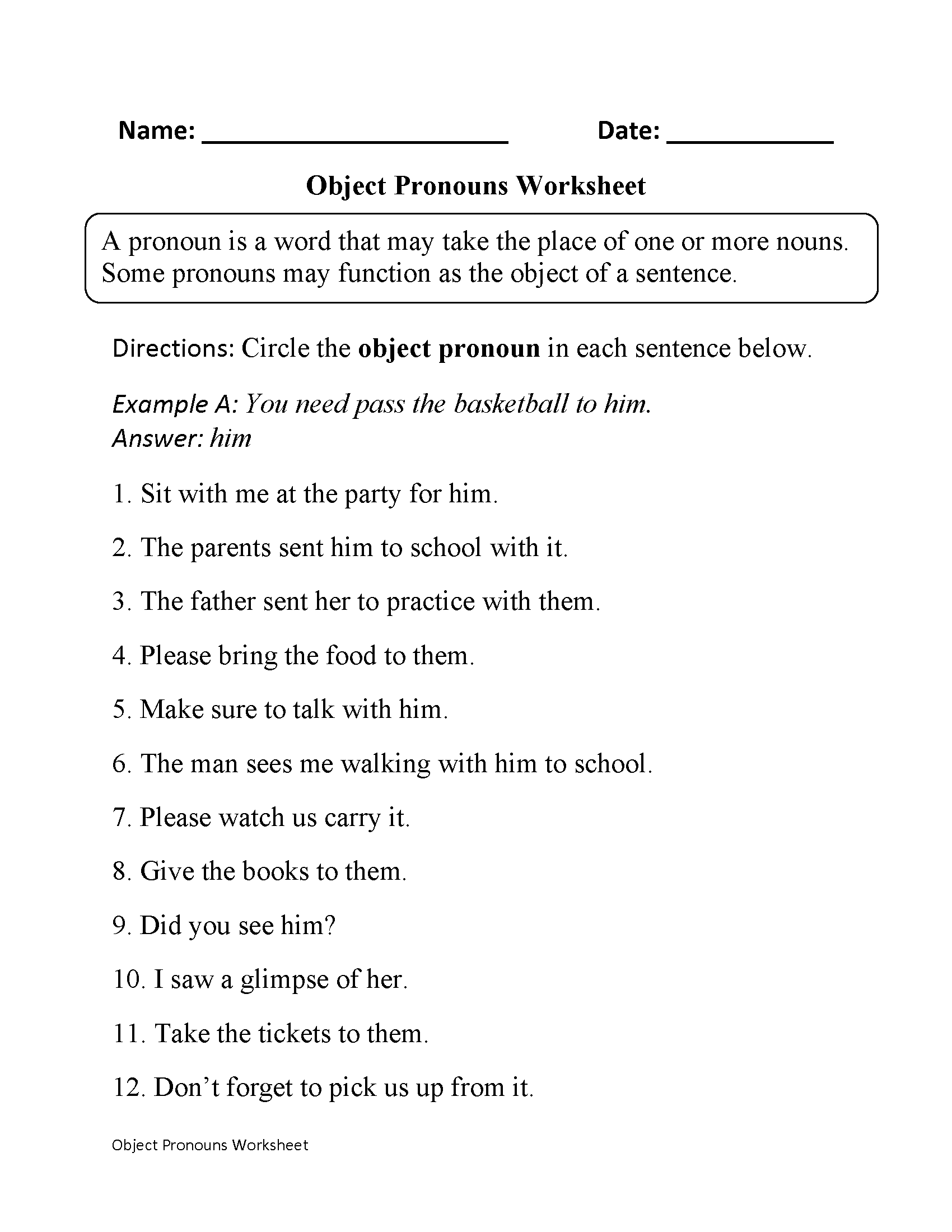 medium resolution of Pronouns Worksheets   Subject and Object Pronouns Worksheets   Pronoun  worksheets