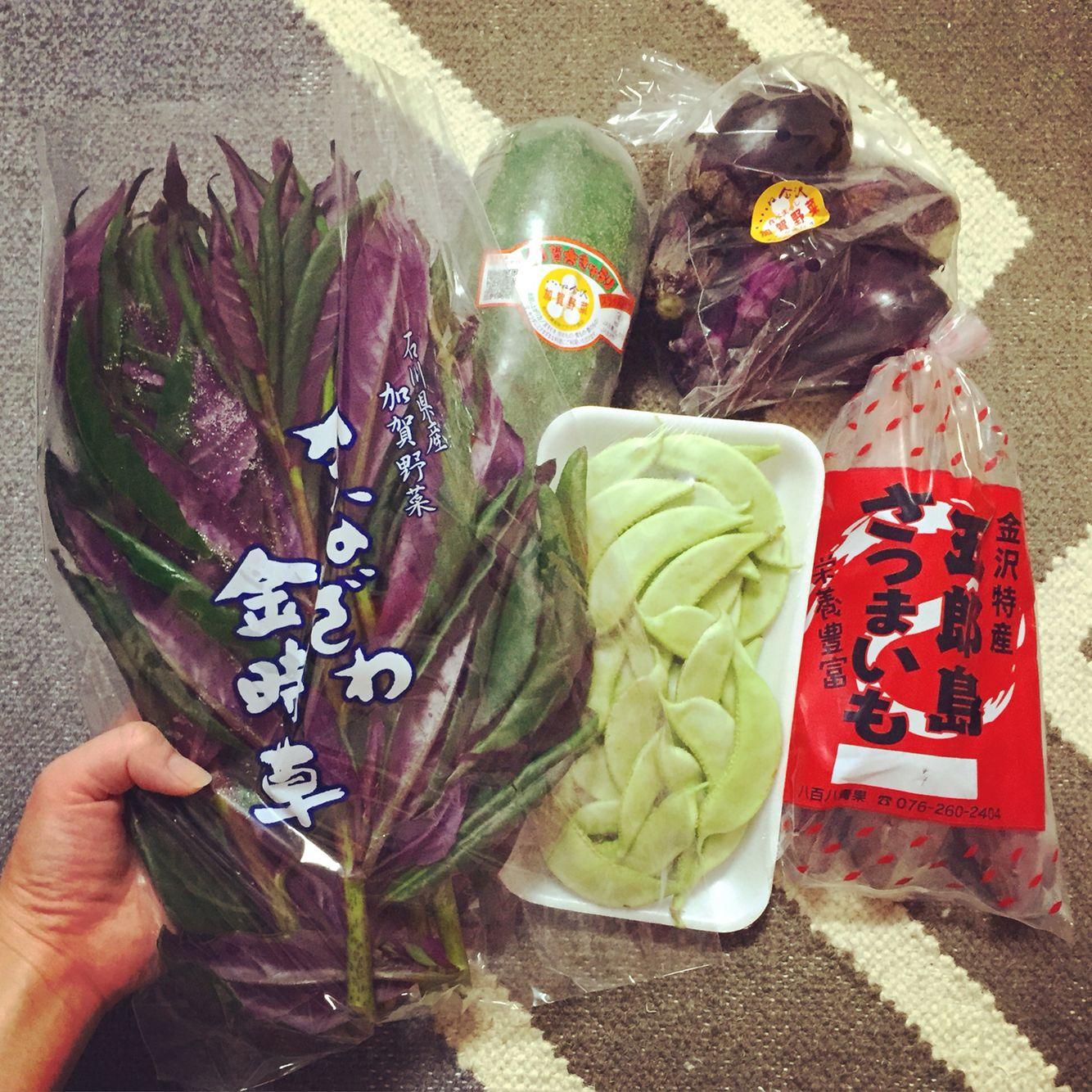 金沢から伝統野菜が届きました。 五郎島さつまいも、加賀太きゅうり、金時草、加賀つるまめ、ヘタ紫なす