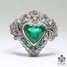 ANTIQUE ART DECO PLATINUM DIAMOND & EMERALD RING