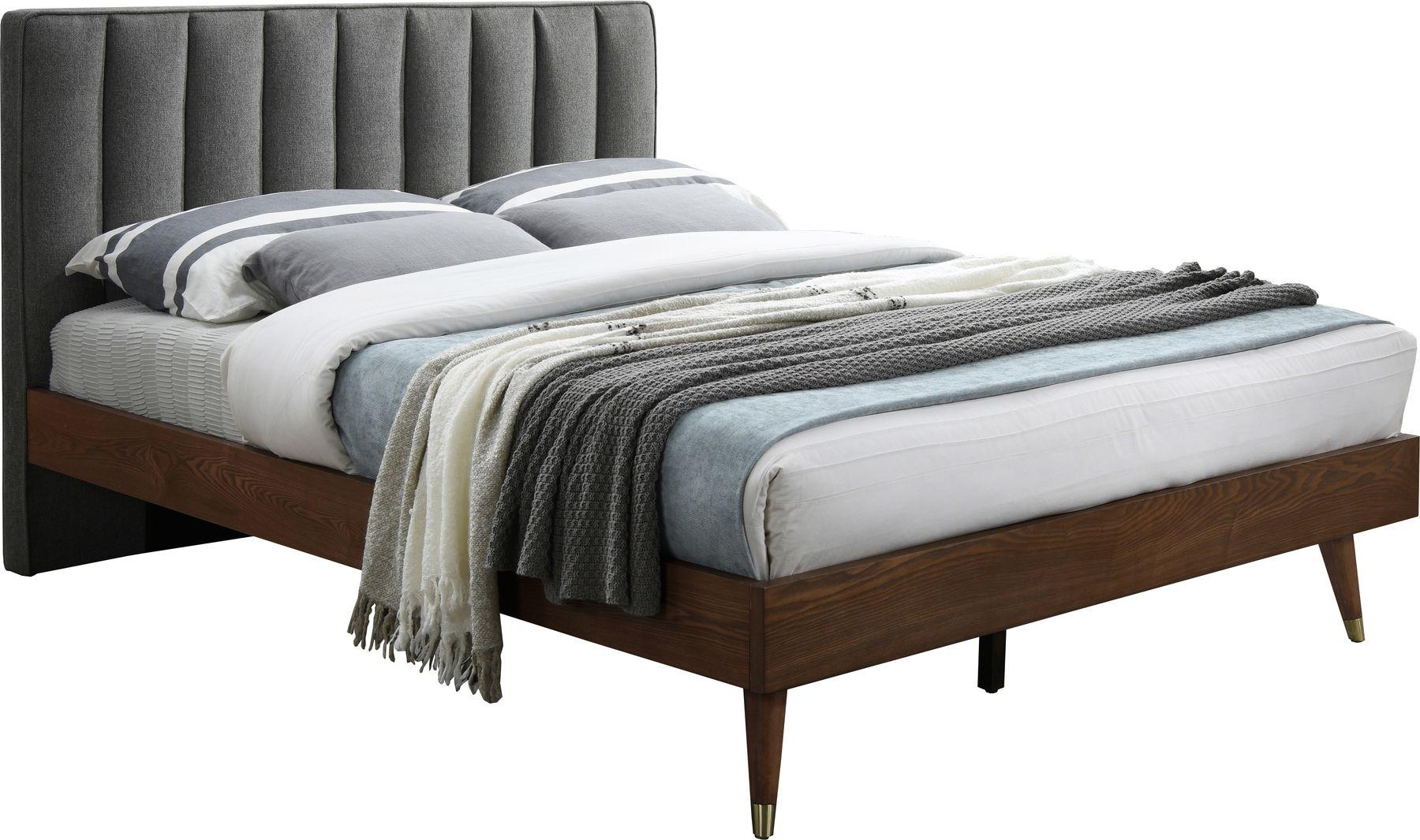 Meridian Vance Gray Mid Century Design Walnut Fabric Queen Bed