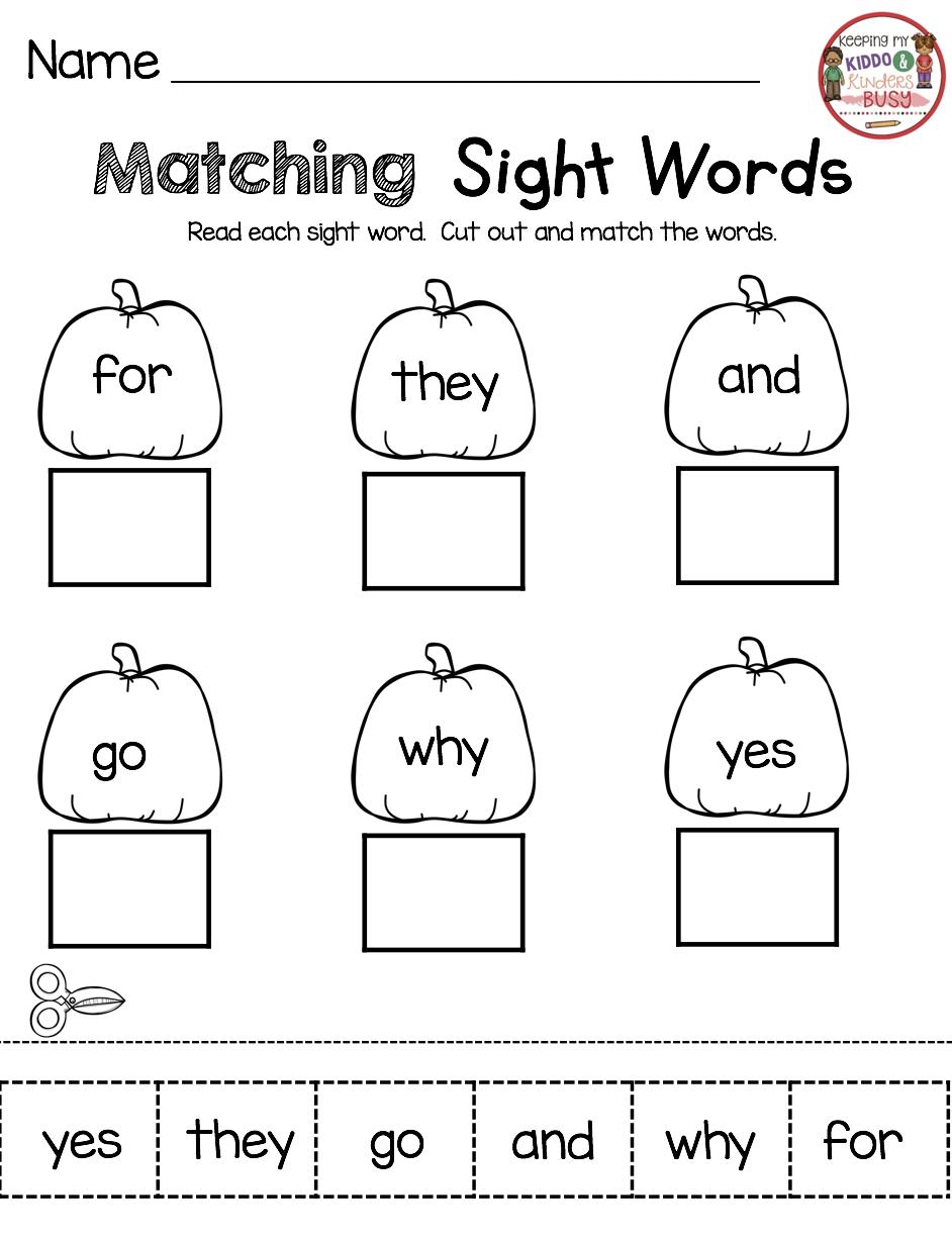 October Math And Literacy Pack Freebies Keeping My Kiddo Busy Sight Words Kindergarten Kindergarten Homework Word Activities [ 1226 x 942 Pixel ]
