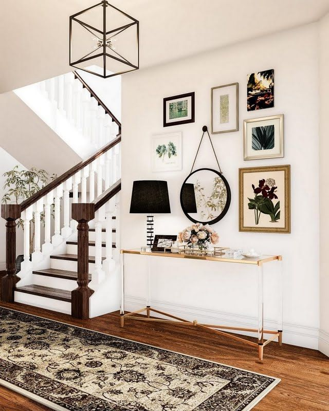 Unique Wall Unit For Drawing Room Homedecoration: Eclectic Entryway With Black Accents
