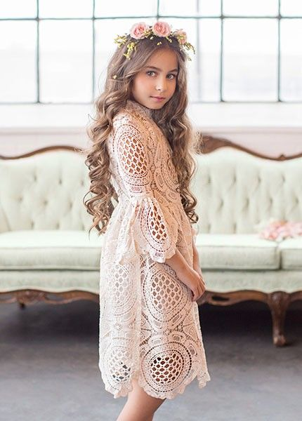 Have This Timeless Lace Dress Features A High Neckline Bell Sleeves And A Gorgeously Scalloped Hem Cute Lace Dresses Lace Dress Girls Lace Dress