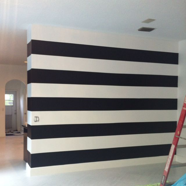 black white striped dining room walls in progress
