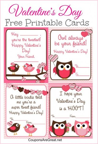 Free Printable Valentine S Day Cards For Kids With Owls And Birds Printable Valentines Day Cards Valentines Printables Free Valentines For Kids