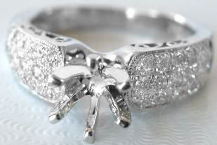 Pave Diamond Engagement Ring Mounting With Three Rows Of Diamonds