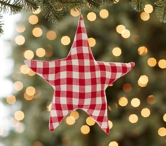 Jumbo Gingham Star Plush Ornament Pottery Barn Kids Christmas