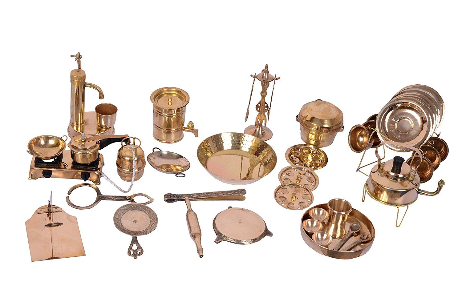 Buy Desi Toys Vintage Miniature Brass Metal Cooking Set Gold 42